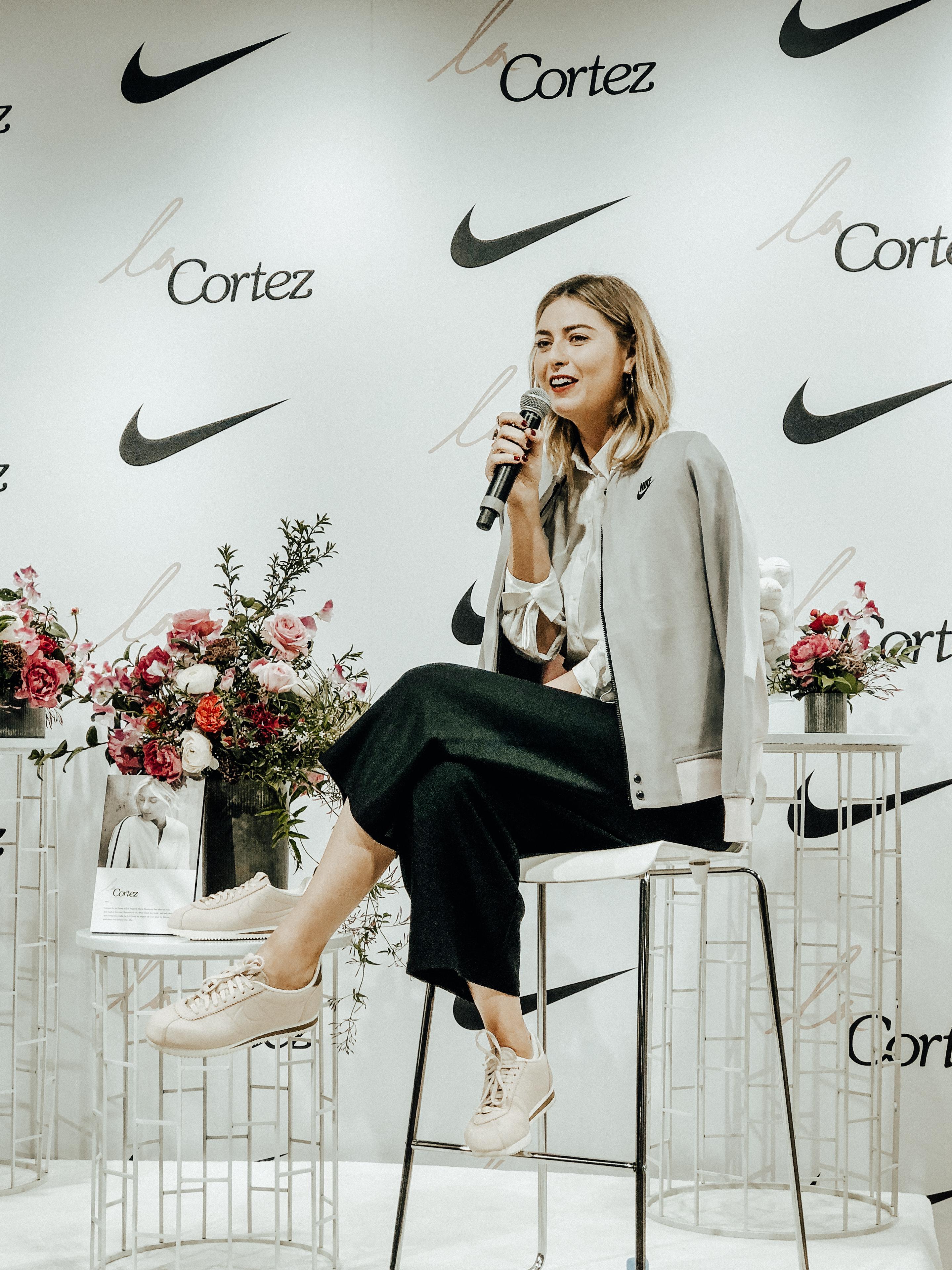 online store 7a887 b95f6 Maria Sharapova: Nike LA Cortez Launch – Juliann Cheryl